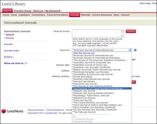 LexisLibrary start page