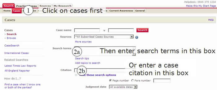 Screenshot showing position of case search boxes.