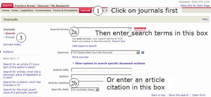 Screenshot showing position of journal search boxes.